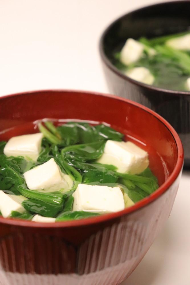 低FODMAP食♪法蓮草と豆腐の澄まし汁