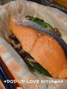 ★レンジで塩鮭と野菜の酒蒸し *Ym*