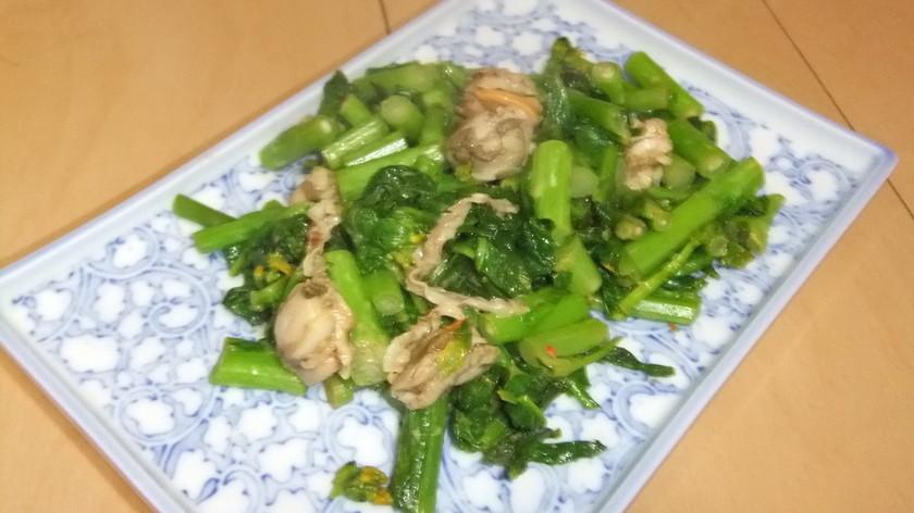 菜の花とホタテ缶のコチュマヨソテー