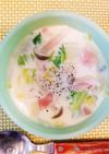 白菜とベーコンとしめじのミルクスープ