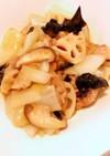 豚コマ、白菜、蓮根の黒酢炒め