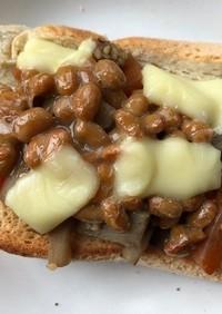 納豆ときんぴらゴボウのトースト