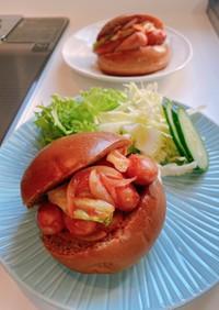 ソーセージ柚子胡椒とケチャップ炒めサンド