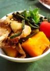 かぼちゃと豚肉とほうれん草の炒め煮
