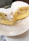 ケーキのスポンジで、ロールケーキ