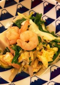高野豆腐と三つ葉と海老の卵とじ
