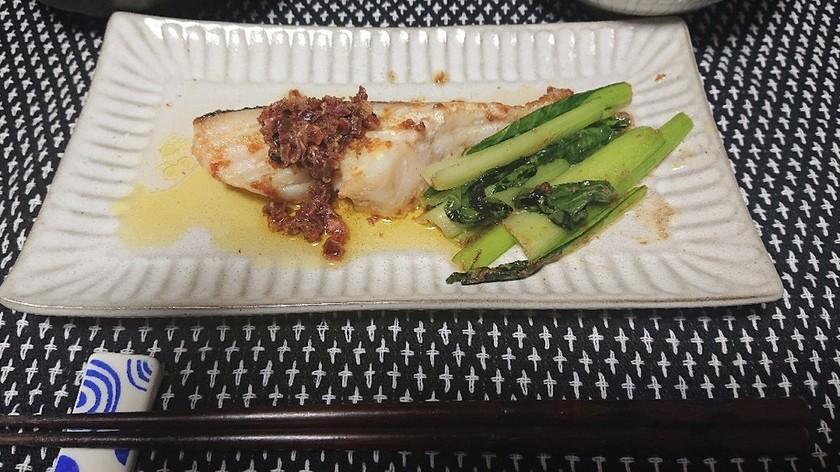 うめこのバターソースで白身魚のソテー