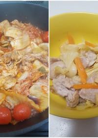 豚肉春キャベツ炒めと豚キムチ 派生料理