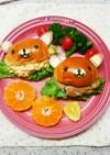 子ども喜ぶ朝食☆リラックマロールサンド☆