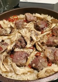 牛肉と舞茸の簡単パエリア