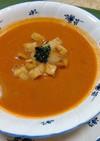 海老の頭と殻を使って作った野菜入りスープ