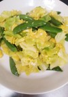 簡単♪スナップエンドウとキャベツの卵とじ