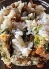 納豆とお好み焼き風卵焼きのご飯