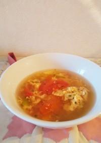 簡単♪トマトと卵とあおさの優しいスープ