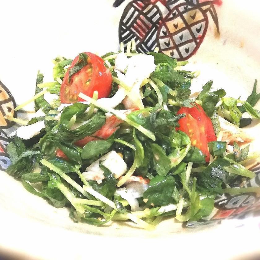 豆苗と大葉とカニカマのシャキシャキサラダ