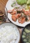 鮭マヨとナスの味噌汁と焼きナスのポン酢