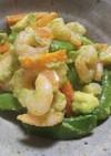 海老と野菜で春色のアボカドガーリック