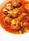 手作りミートボールとキャベツのトマト煮込