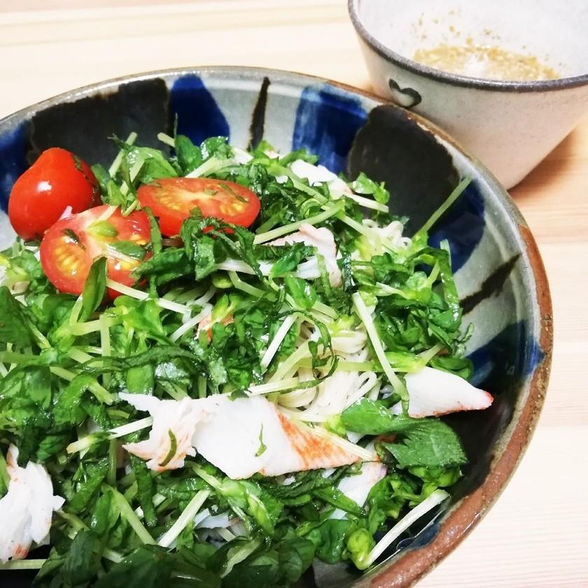 豆苗・大葉・トマトのひんやりサラダ麺
