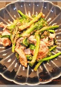 菜花と豚肉の芝麻醤(ゴマペースト)炒め