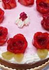 薔薇の苺ムースケーキ(イチゴのバラ飾り)