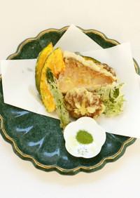 アマダイと野菜の天ぷら 抹茶塩添え