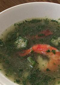 妊活応援レシピ オクラとエビのスープ