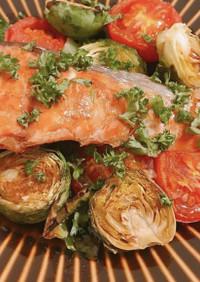 鮭と芽キャベツのソテー
