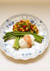 アスパラガスとポーチドエッグの春サラダ
