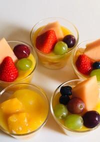 フルーツと牛乳ゼリーオレンジソースがけ