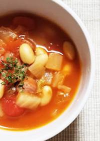 具だくさん野菜ともち大豆のトマトスープ