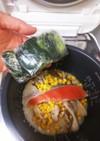 鮭の切り身➕舞茸➕コーンで炊き込み☺️