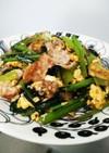 簡単に♪豚肉と小松菜の卵とじ炒め