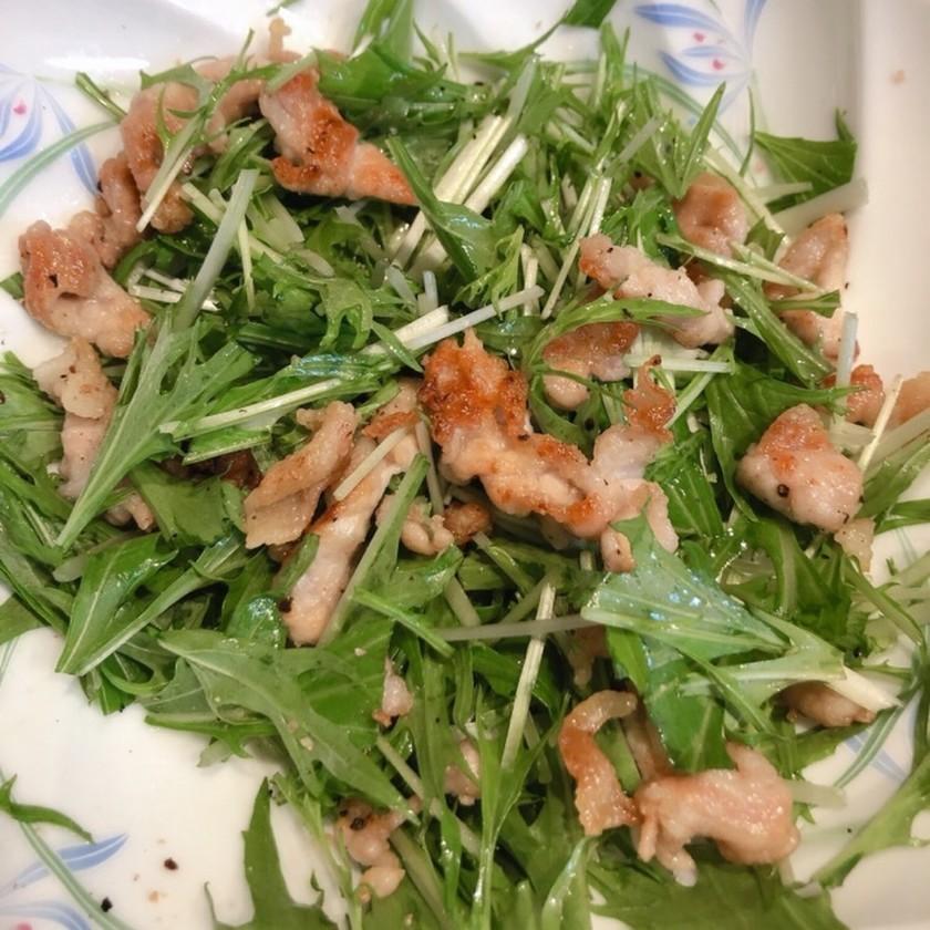 豚肉と水菜のおかずサラダ