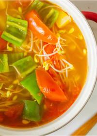中華風のもやしトマトスープ