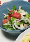 セロリ葉とトマトのマリネサラダ