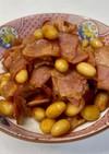 水煮大豆とベーコンの炒め煮