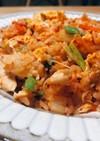 長芋と小松菜のキムチ炒飯