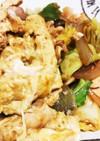 キャベツと鶏肉でマヨ味噌卵炒め