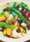 お豆さんと野菜があますっぱい温サラダ