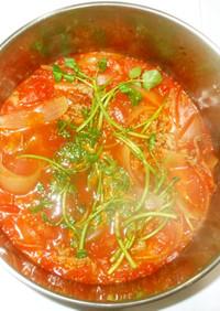 クレソン牛肉のトマトスープ♪簡単トマト缶