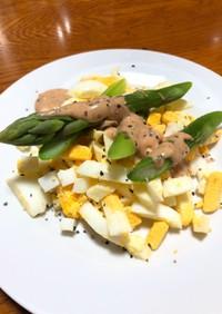 ゆで卵とグリーンアスパラのサラダ