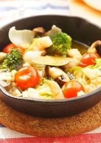 海老とゆり根とマッシュルームのアヒージョ