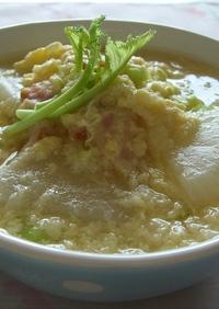 かぶとベーコンのふわふわ卵スープ