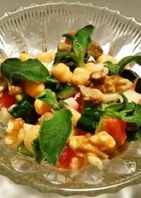 ひよこ豆アイスプラントのマセドアンサラダ