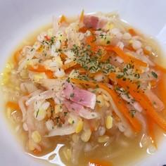 押麦とムング豆入り切り干し大根のスープ