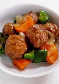 【レンジで簡単!】肉団子の酢豚風