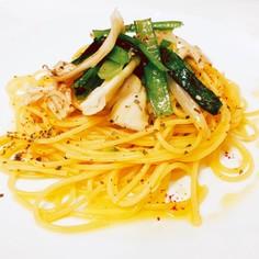 小松菜と舞茸のペペロンチーノ