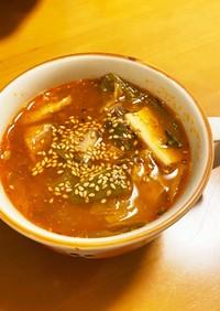 サバ缶とキムチのスープ