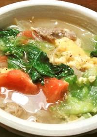 春の美味しいレタスのスープ
